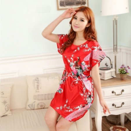 Red Peacock Print Flower Sexy Elegant One Piece Dress Free Size Girls Pajamas