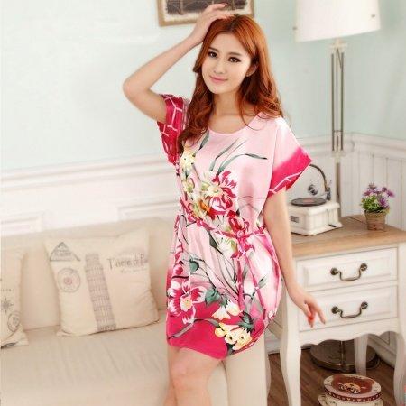 Plum Orchid Print Flower Sexy Elegant One Piece Dress Free Size Girls Pajamas