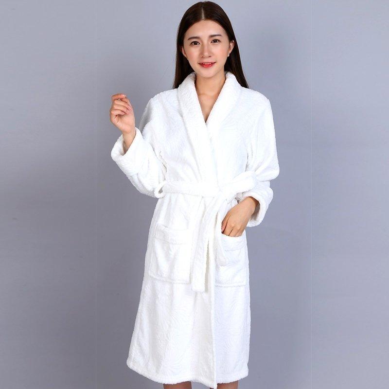 Snow White Flannel Bathrobe Wrap Robe Thicken Pajamas for Women M L XL