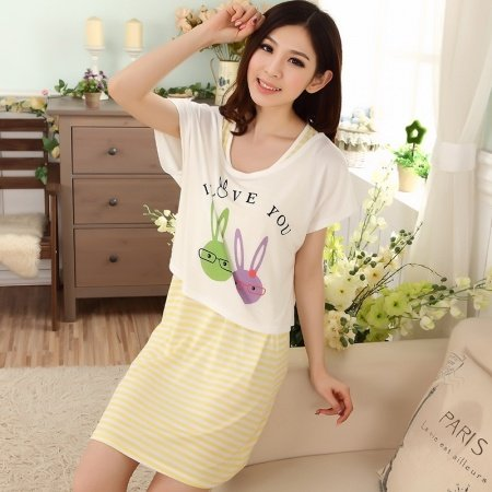 Yellow Striped Dress and White Bunny Rabbit Print Shirt Modal Pajamas for Girls M L XL XXL