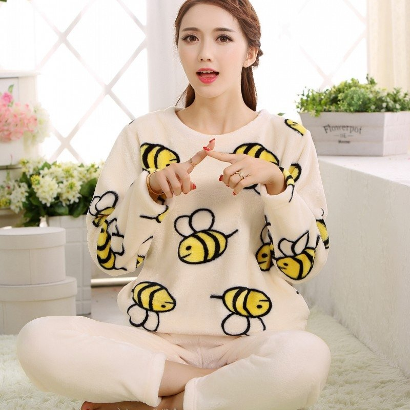 Yellow Bee Print Flannel Applique Long T-Shirt and Trousers Pajamas for Girls M L XL