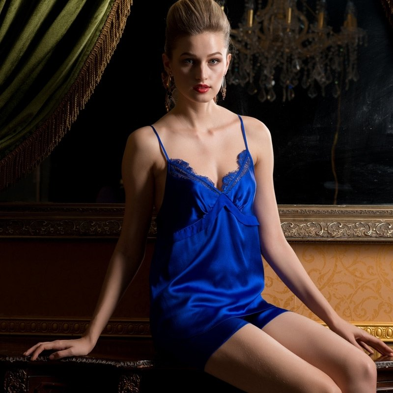 Royal Blue 19mm 100% Nature Silk Sexy Luxury Summer Pajamas for Feminine Girly M L XL XXL