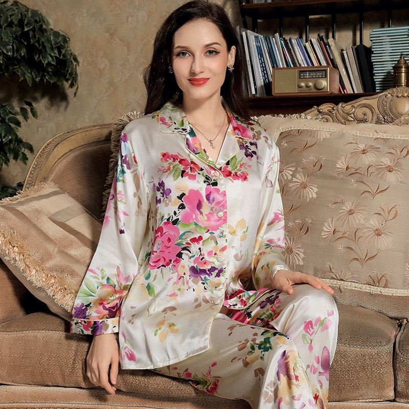 Red Yellow Flower 100% Mulberry Silk Long Shirt and Trousers Luxury Conservative Pajama for Feminine Girly M L XL