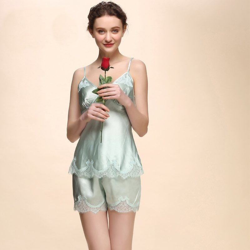 100% Pure Silk 2 Pieces Sleeveless Shirt with Lace Bud Silk Trim and Shorts Sexy Cool Pajamas for Ladies M L XL XXL