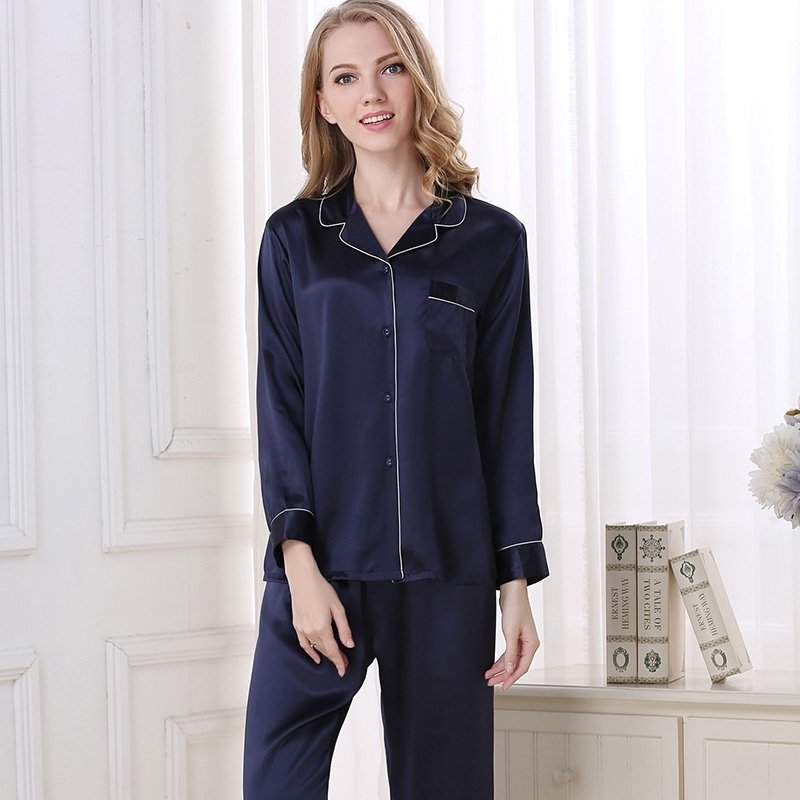 Deep Blue 100% Asian Silk 2 Pieces Long Sleeve T-Shirt and Pants Elegant Silky Pajamas Set M L XL