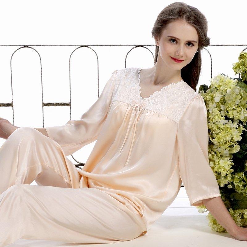 Light Orange 100% Real Silk Half-Sleeve Shirt with Elegant Lace Border Trim and Full Pants Fashion Pajamas M L XL XXL