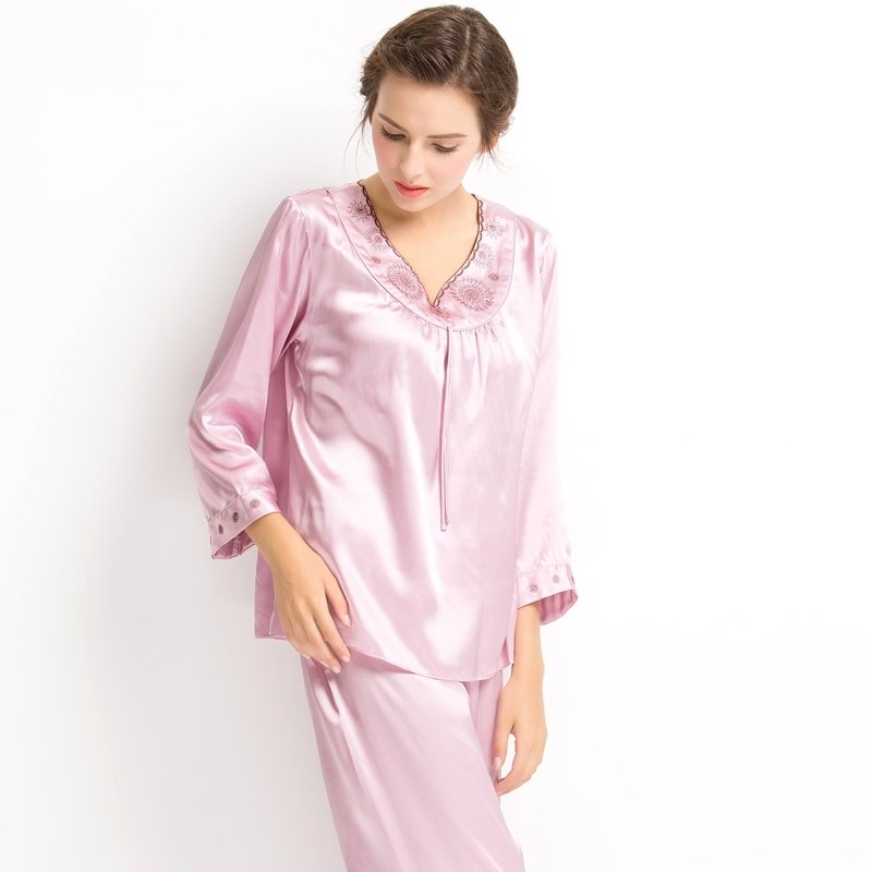 Plain Pale Purple Grey Embroidered V-neck 2pc 100% Pure Silk Luxury Elegant Spring Autumn Pajamas for Girls M L XL