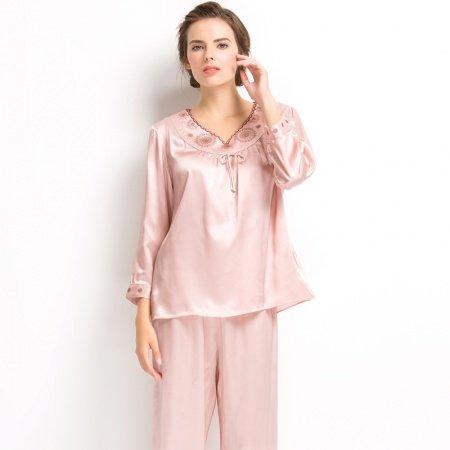 Plain Purple Pink Embroidered V-neck 2pc 100% Pure Silk Luxury Elegant Spring Autumn Pajamas for Girls M L XL