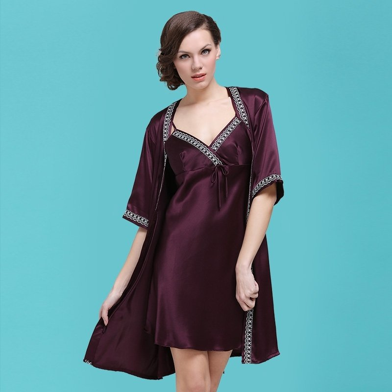 Eggplant 100% Pure Silk Cami Dress and Robe 2pc Luxury Noble Pajamas for Girls M L XL