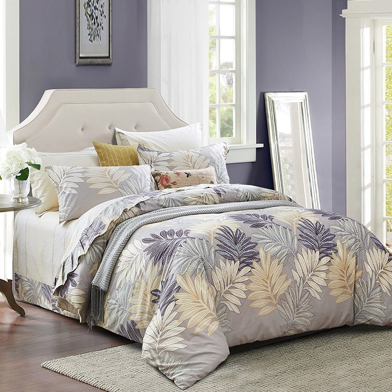 Slate Gray Silver and Beige Vintage Fern Leaf Print Rustic Lodge Style Shabby Chic 100% Organic Cotton Full, Queen Size Bedding Sets
