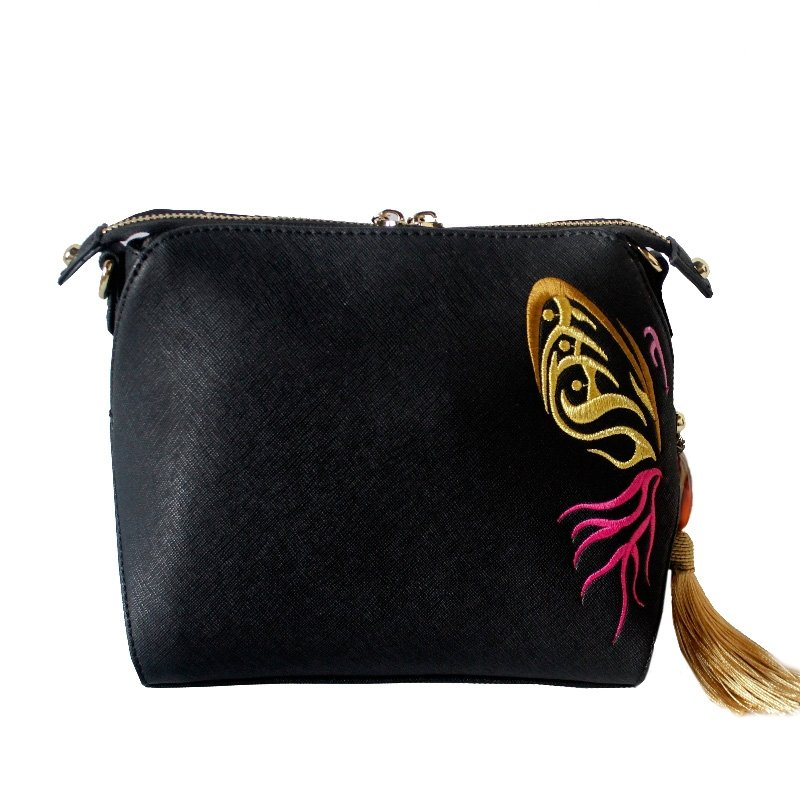 Personalized Black Faux Leather Tassel Vintage Embroidered Folklore Bohemian Chic Lady Small Casual Shell Crossbody Shoulder Satchel Bag