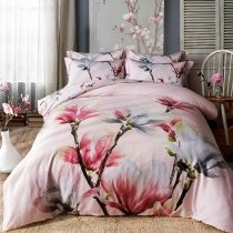 Pink Grey and Brown Peach Blossom Print 3D Design Rustic Style Romantic and Elegant Girls 100% Cotton Full, Queen Size Bedding Sets