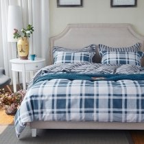Denim Blue and White Classic Tartan Plaid Print Campus Style Simply Chic 100% Cotton Full, Queen Size Bedding Sets