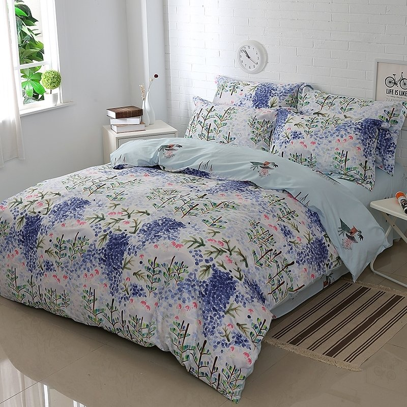 Olive Green Cobalt Blue and White Tree Branch and Wildflower Print Rustic Lodge Style 100% Cotton Full, Queen Size Bedding Sets