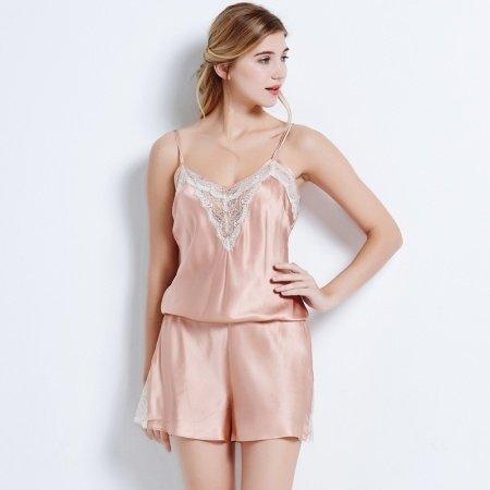 Pastel Purple 100% Nature Silk 1 Piece Onesies Romper Sleeveless Shorts Luxury Sexy Pajamas for Feminine Girly M L XL