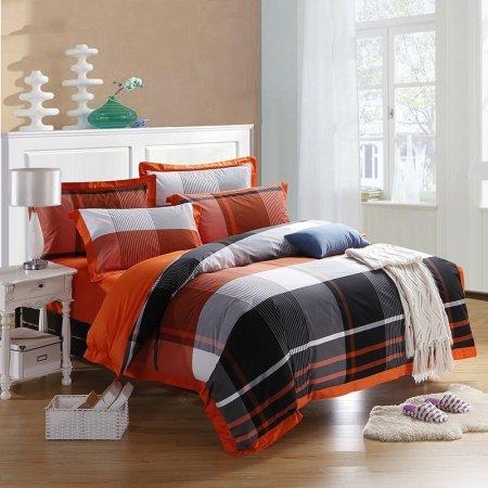 Boys Black White and Orange Madras Plaid Print High Fashion Traditional 100% Organic Cotton Full, Queen Size Bedding Sets