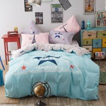 Bright Blue Navy and White Star Print Monogrammed Abstract Design Traditional Reversible 100% Polyester Full Size Bedding Sets