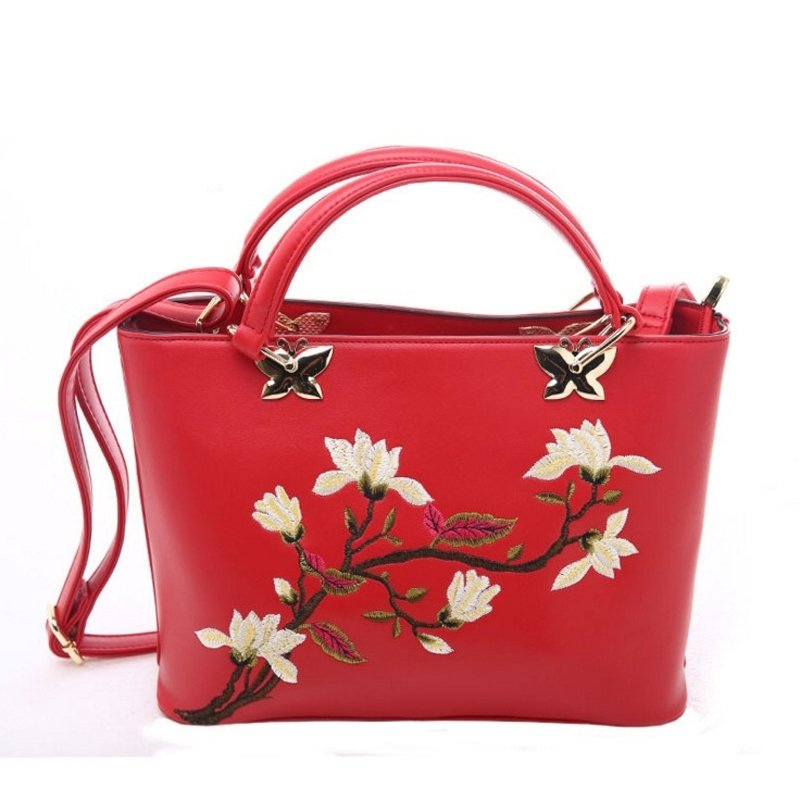 Cardinal Red Patent Leather with Gold Sequin Hardware Women Tote Gorgeous Embroidered Floral Sewing Pattern Crossbody Shoulder Bag