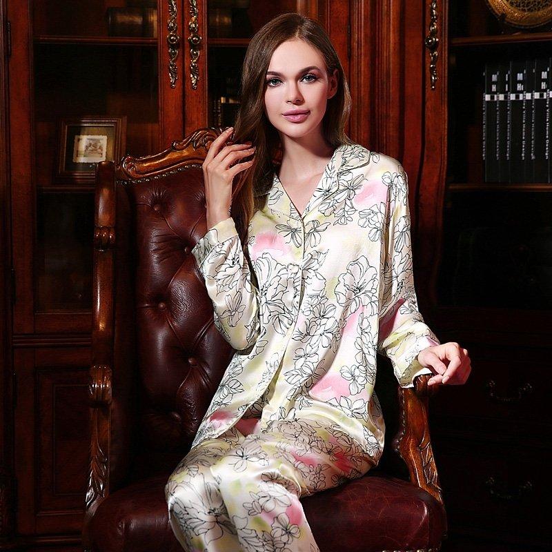 Cornsilk 100% Pure Silk Flower Long T-Shirt and Pants Luxury Oriental Pajamas for Feminine Girly M L XL