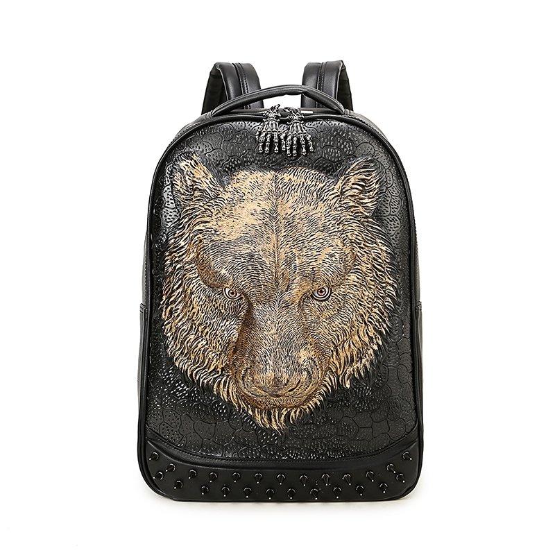 Vintage Black Leather Embossed Metallic Gold Wolf Head Men Large Travel Backpack Punk Rock and Roll Spike Studded School Book Bag