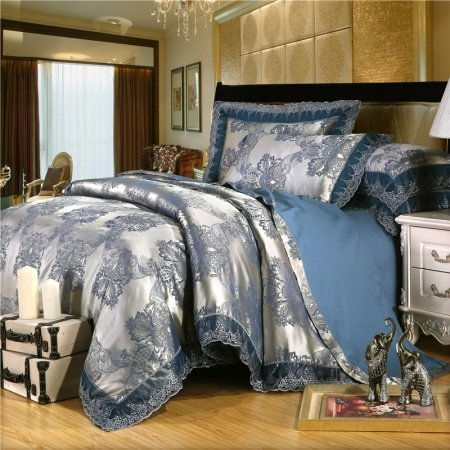 Cobalt Blue and Silver Bling Damask Pattern Classic Lace Design Shabby Chic Jacquard Satin Fabric Full, Queen Size Bedding Sets