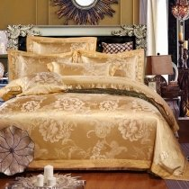 Royal Gold Sequin Paisley and Flower Pattern Asian Inspired Noble Excellence Jacquard Satin Full, Queen Size Bedding Sets