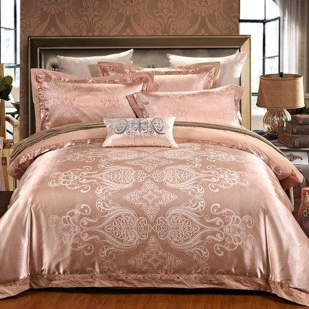 Puce and Silver Western Ethnic Pattern Baroque Style Jacquard Satin Full, Queen Size Bedding Sets