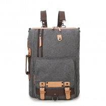 Dark Gray Canvas with Rust Leather Masculine Travel 14 Inch Laptop Backpack Vintage Studded Cool Boys Preppy School Campus Book Bag