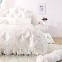 Trendy Pearl White Victorian Lace Design Sparkle Pattern Wedding Themed Luxury 100 Cotton Full