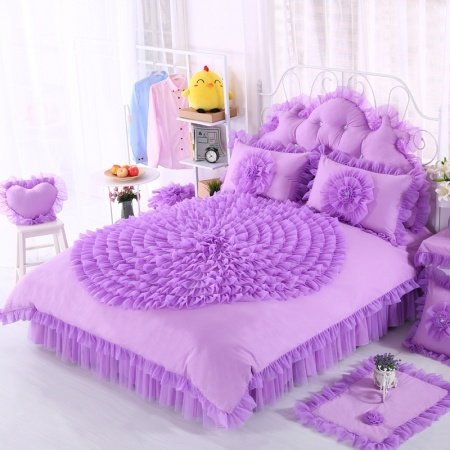 Violet Princess Style Ruffled Design Elegant Girls Trendy Feminine Feel 100% Cotton Twin, Full, Queen Size Bedding Sets