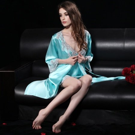 Blizzard Blue 19mm 100% Nature Silk 2 Pieces Sling Dress & Night-Robe Noble Luxury Pajamas for Girly Women M L XL