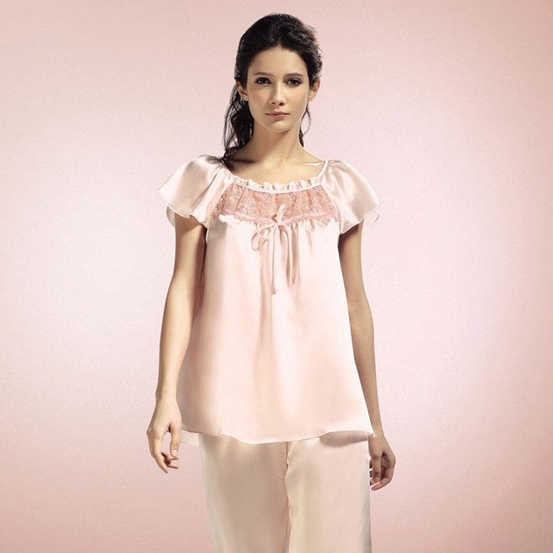 Pink 100% Pure Silk Ruffled Falbala and Flouncing Shirt & Knee Length Pants Summer Retro Chic Pajamas for Feminine M L XL