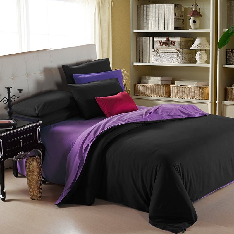 Girls Black and Purple Pure Colored Modern Chic Reversible Luxury Cotton Full, Queen, King Size Bedding Sets