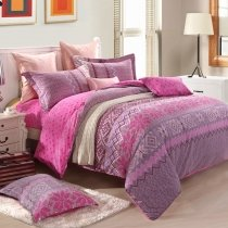 Rose Pink and Gray Aztec Stripe Print Moroccan Style 100% Brushed Cotton Full, Queen Size Reversible Bedding Sets