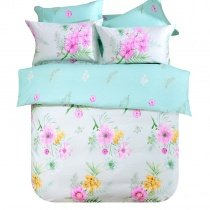 Tiffany Blue Fuchsia and Yellow Tropical Wildflower Print French Country Chic Reversible 100% Cotton Twin, Full Size Bedding Sets