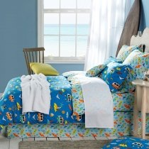 Kids Aqua Yellow and Ocean Blue Island Print Tropical Themed Holiday Style Twin, Full, Queen Size Bedding Sets