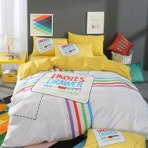 Light Gray Aqua Red Green Purple and Yellow Stripe and Monogrammed Stylish Preppy Style 100% Cotton Full, Queen Size Bedding Sets