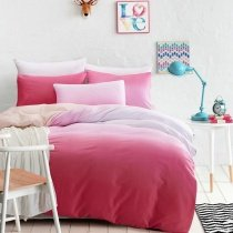 Girls Hot Pink and White Ombre Colored Feminine Feel Trendy Unique 100% Organic Cotton Full, Queen Size Bedding Sets