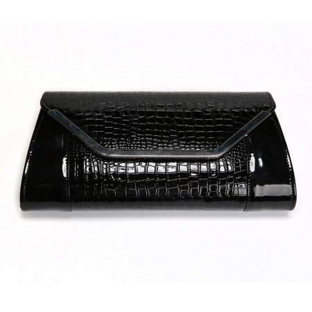 Black Patent Leather Lady Small Flap Envelope Bag Evening Clutch Embossed Crocodile Magnetic Closure Chain Crossbody Shoulder Bag