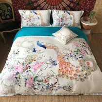 Trendy Pink White Green and Blue Peacock and Flower Print Sophisticated Elegant Luxury Egyptian Cotton Full, Queen Size Bedding Sets