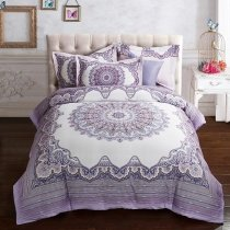 Grey and White Bohemian Gypsy Themed Sophisticated Elegant Luxury 100% Brushed Cotton Full, Queen Size Bedding Sets