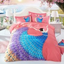 Coral Pink Peacock Blue and Purple Beautiful Girl Print Fancy and Elegant 100% Brushed Cotton Full, Queen Size Bedding Sets