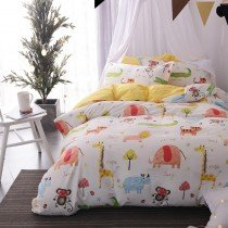 Kids Soft Pink Yellow and White Animal Print Jungle Safari Themed Funky Style 100% Cotton Twin, Full Size Bedding Sets