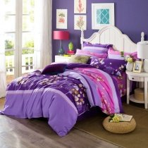 Pretty Grape Purple Lavender and Pink Tree Print Pastel Style Country Chic 100% Brushed Cotton Full, Queen Size Bedding Sets
