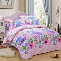 Aqua Purple Pink and Green Bright Tropical Flower Garden Images 100% Brushed Cotton Twin, Full Size Bedding Sets