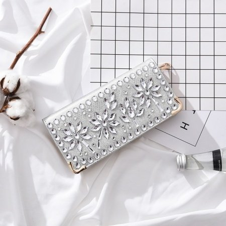 Silver Patent Leather Elegant Lady Casual Party Evening Clutch Western Bling Rhinestone Gold Hardware Flower Pattern Zipper Long Wallet