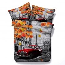Paris Scene Vintage Car and Eiffel Tower Print 3D Design Shabby Chic Twin, Full, Queen, King Size Bedding Sets
