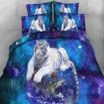 Sparkle Blue Grey and White Tiger Print Animal Themed Jungle Safari Twin, Full, Queen, King Size Bedding Sets for Boys