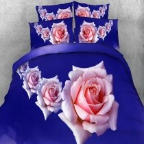 Elegant Navy Blue and Pink English Rose Print Romantic Cute Style Twin, Full, Queen, King Size Bedding Sets