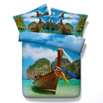 Green Blue and Brown Boat Print Tropical Island Ocean Themed Nautical Twin, Full, Queen, King Size Bedding Sets